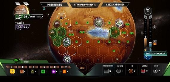 Terraforming Mars App - Auswahl einer Platzierung (goldene Rahmen)